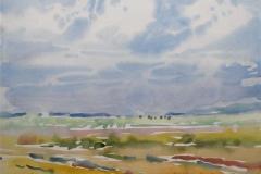Juni. Jaeren Akvarell 36x48 cm 3000,-kr u.r.