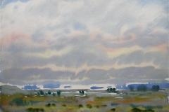 Landskap 1 Akvarell 36x48 cm 3000,-kr u.r.