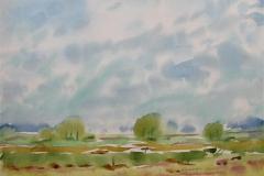 Vår ved havet Akvarell (36x48 cm) kr 3000 ur