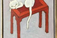 Hvit katten på benken Akrylmaleri (30x30 cm) kr 2000 mr