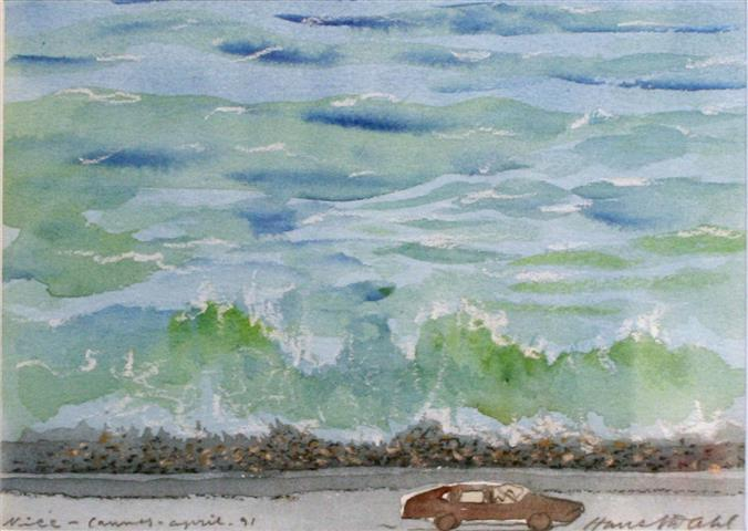 Nice Akvarell 12x17cm 1200,-kr m.r.