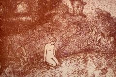 Europa og oksen rosa Litografi 43x54cm 2000,-kr u.r.