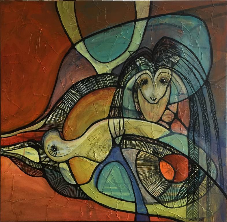 Maskerade III Akrylmaleri 880X80 cm) kr 8000 ur