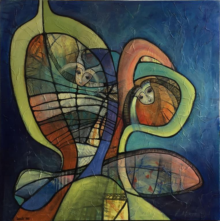 Vægtløse Drømme 2 Akrylmaleri (100x100 cm) kr 10500 ur