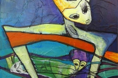 Blaa time III Akrylmaleri 40x40 cm 3000