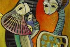 Dramatikerne II Akrylmaleri 100x80 cm 8500 ur