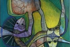 Ildfugle Akrylmaleri (120x100 cm) kr 10500 ur