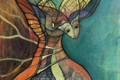 Maskerade IV Akrylmaleri (80X80 cm) kr 8000 ur