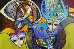 Spoegefugle I Akrylmaleri 80x80 cm 7000