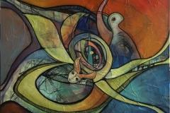 Vægtløse Drømme 1 Akrylmaleri (100x100 cm) kr 10500 ur