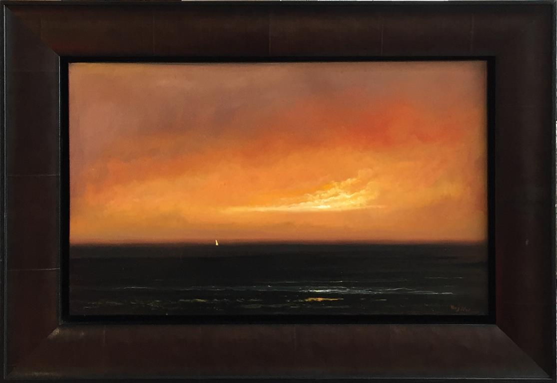 Gyldent hav. Oljemaleri (25x40 cm) kr 14000 kr