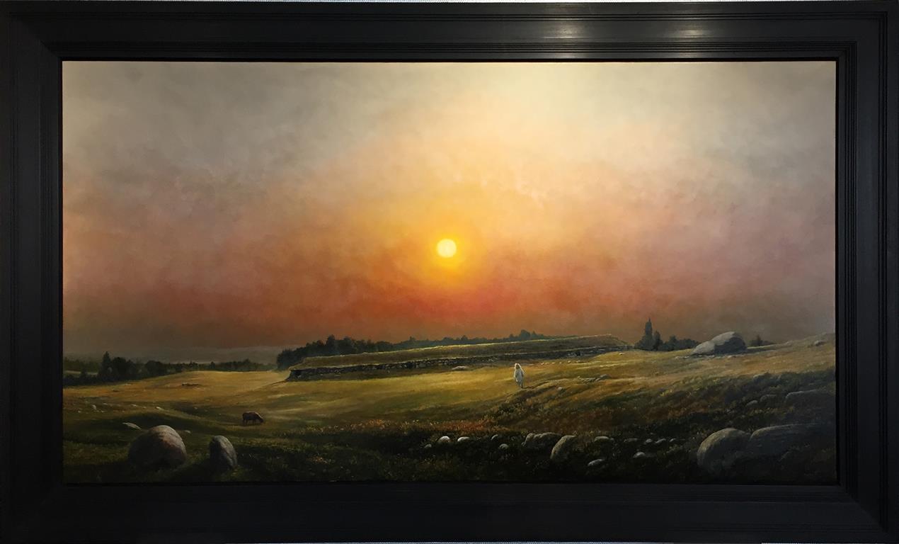 Jernaldergården -  solnedgang. Oljemaleri (120x220 cm) kr 250000 mr
