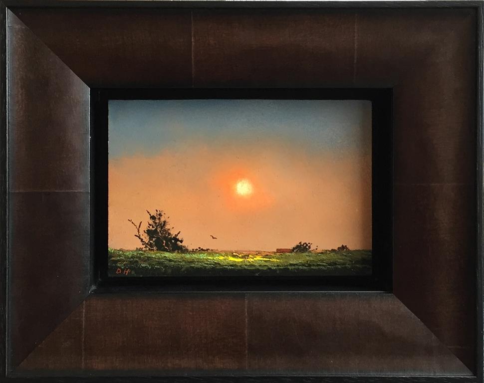 Sol og busk. Oljemaleri (11x17 cm) kr 5500 mr