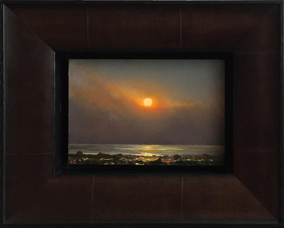 Sol over hav. Oljemaleri (11x17 cm) kr 5500 mr