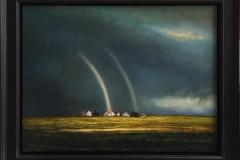 Regnbue over gård. Oljemaleri (60x80 cm) kr 38000 mr