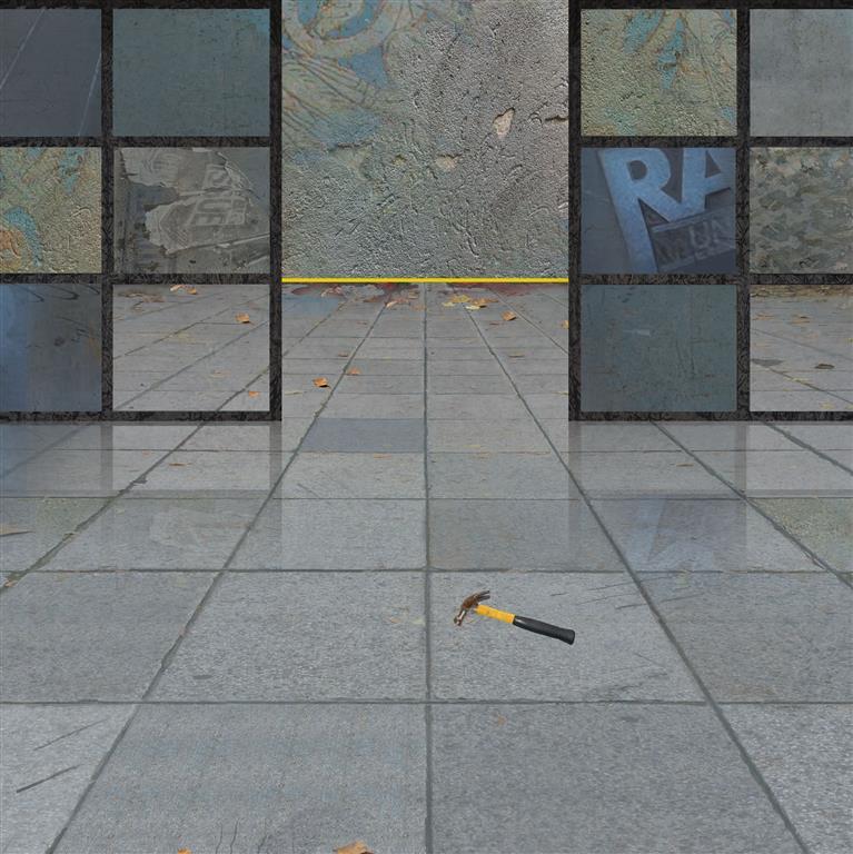 Gul stripe II Digital trykk (90x90 cm) kr 14000 mr