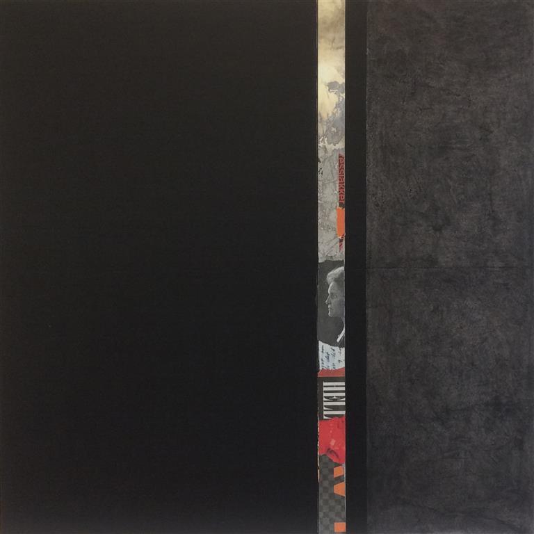 Rød stripe I Collage/akryl/kull (60x60 cm) kr 12000 ur