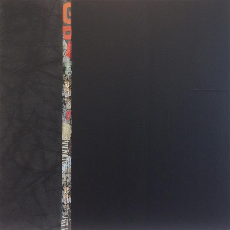 Rød stripe II Collage/akryl/kull (60x60 cm) kr 12000 ur