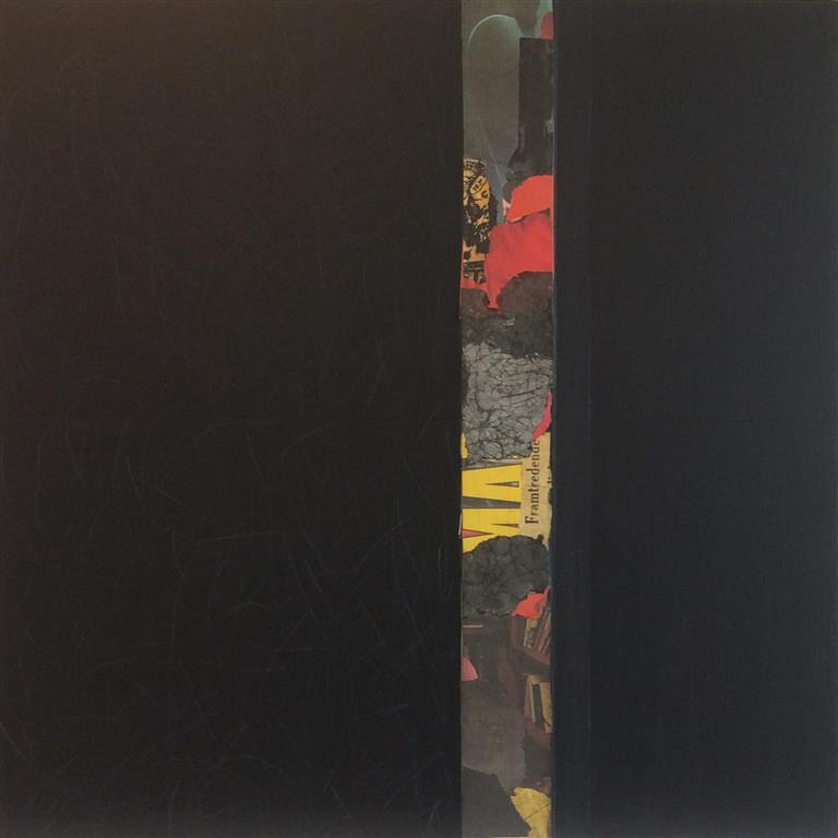 Rød stripe III Collage/akryl/kull (60x60 cm) kr 12000 ur