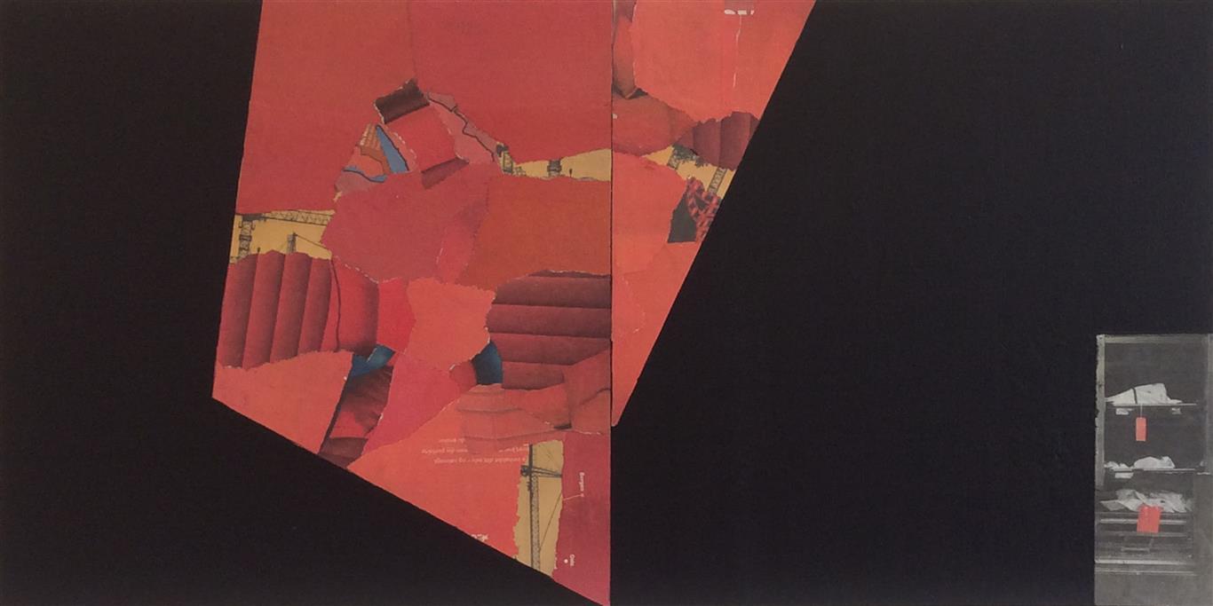 Rødt senter Collage (40x80 cm) kr 9000 ur