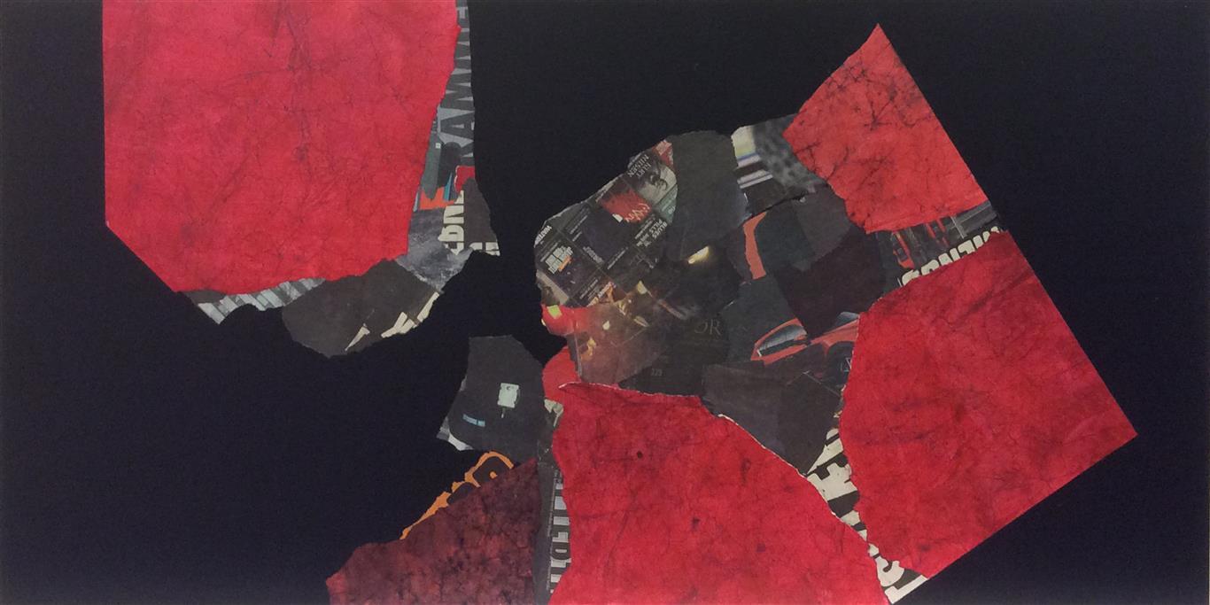 Urban Rød III Collage (60x120 cm) kr 25000 ur