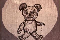 Bamse Tresnitt 11x11 cm 500,-kr u.r.