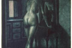 Foran speilet (maaneskinn) Mezzotint 32x22 cm 1700 ur