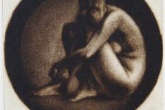 Hodet paa kneet Mezzotint 10,5x10,5 cm 1000 ur