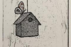 Birdhouse Etsning håndkolorert (9x6 cm) kr 600 ur