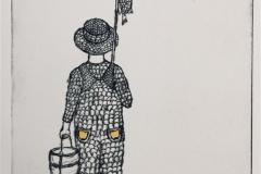Gutten med fiskestang Koldnål håndkolorert (18x13 cm) kr 1100  ur