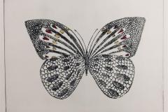Hjerte sommerfugl Koldnål håndkolorert (18x24 cm) kr 1600 ur