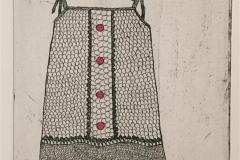 Kjole på klessnor Etsning håndkolorert (20x15 cm) kr 1300 ur