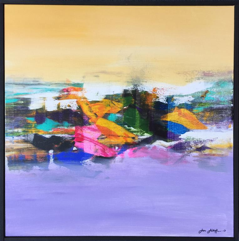 "Jan Kristoffersen ""Jærlandskap II"" Akrylmaleri (60x60 cm) kr 6500 mr"