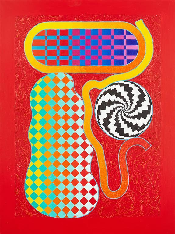 "Pia Myrvold ""Komposisjon, rød"" Akrylmaleri (130x100 cm) kr 54000 ur"