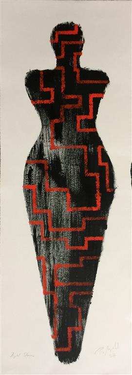 "Pia Myrvold ""Sort Venus"" Akryl på papir (100x35 cm) kr 9500 mr"