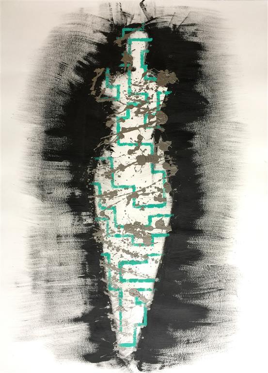 "Pia Myrvold ""Venus i nett"" Akryl på papir (100x70 cm) kr 20000 mr"