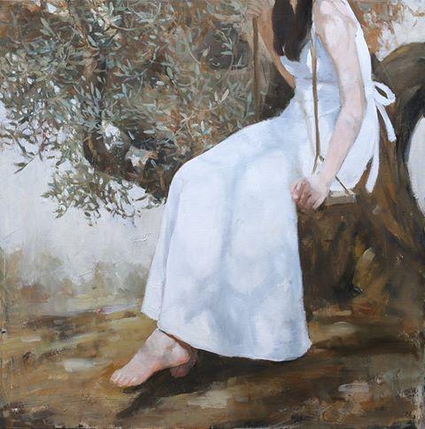 """Yang Zhu """"Ved oliventreet"""" Oljemaleri (50x50 ) kr 15000 ur"""