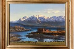 "Odd-Geir Hadland ""Fra Tysnes mot Rosendal"" Oljemaleri (30x40 cm) kr 8000 mr"