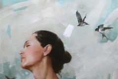 """Yang Zhu """"Gry"""" Oljemaleri (50x50 cm) kr 15000 ur"""