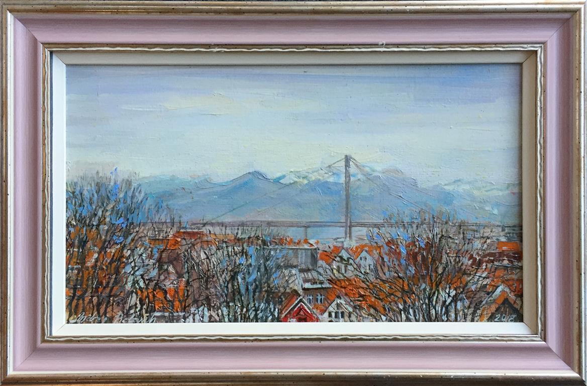 "Andrey Belevich ""Bybroen, Stavanger"" Oljemaleri (20x35 cm) kr 3500 mr"