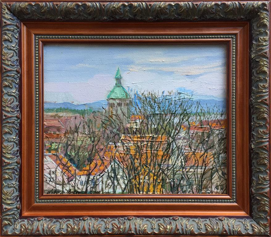 """Andrey Belevich """"Valbergstårnet i april"""" Oljemaleri (25x30 cm) kr 4000 mr"""