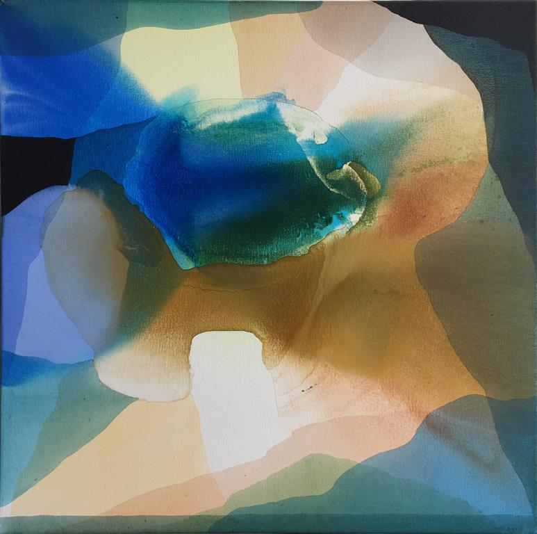 """Annette Bryne """"Fargeflyt V"""" Akrylmaleri (70x70 cm) kr 7000 ur"""