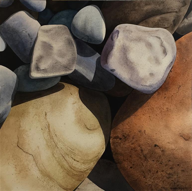 """Annette Bryne """"Steinbilde"""" Akvarell på plate (50x50 cm) kr 5000 ur"""