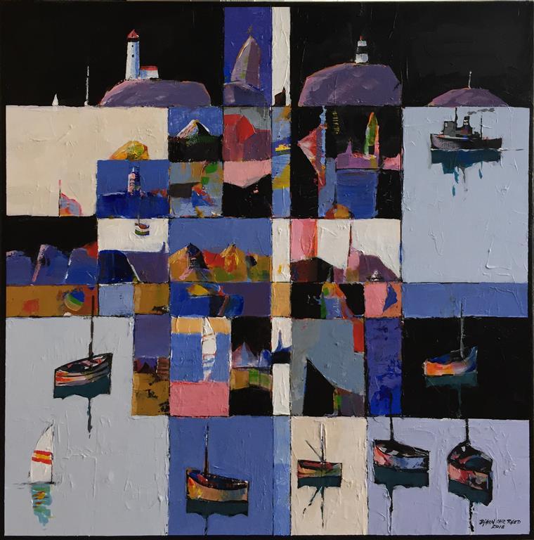 """Bjørn-Chr. Røed """"Kystlandskap"""" Akrylmaleri (60x60 cm) kr 5800 ur"""