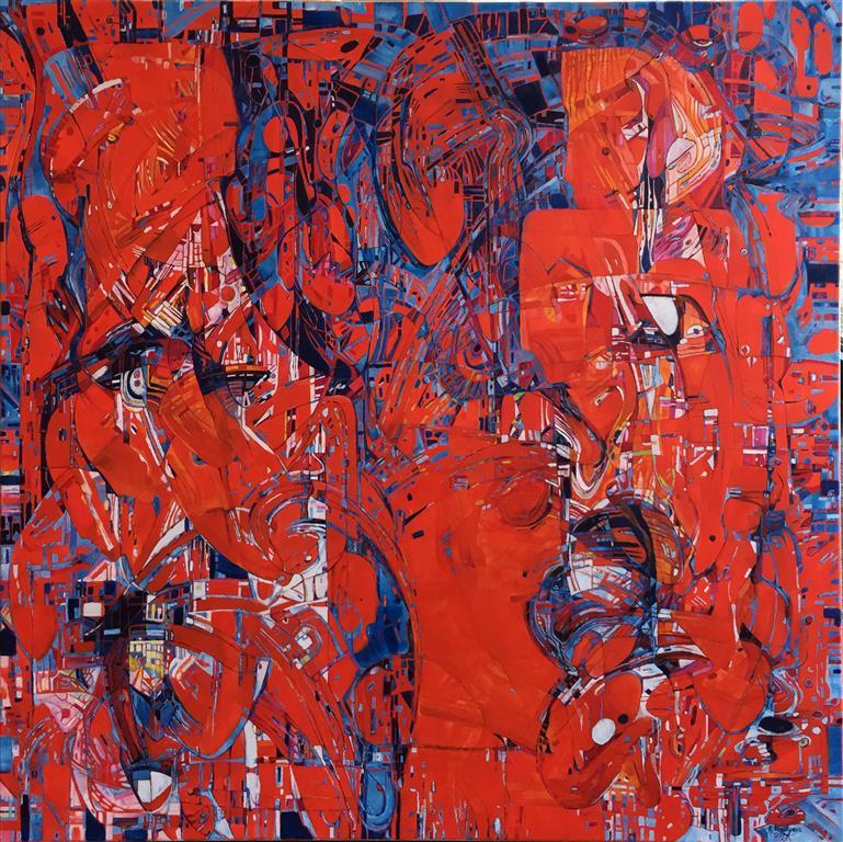 """Elena Vorobyeva """"Varme følelser"""" Oljemaleri (100x100 cm) kr 35000 ur"""