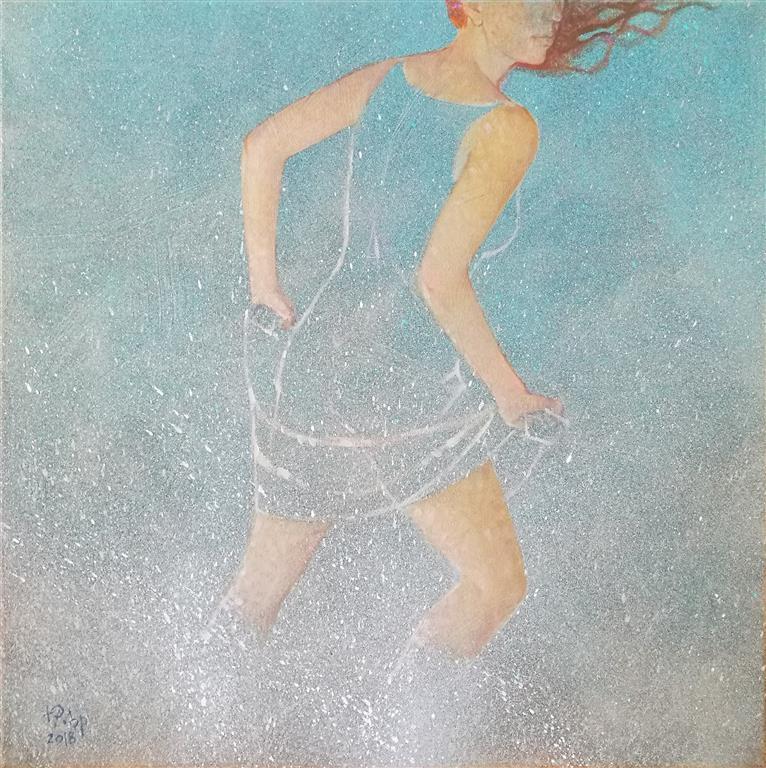 """Julia Mordvinova Gilje """"Mermaid´s dream I""""  Akryl/olje (50x50 cm) kr 5500 ur"""
