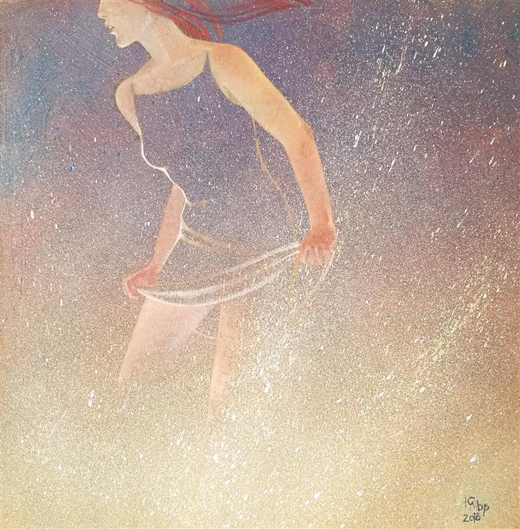 """Julia Mordvinova Gilje """"Mermaid´s dream IV""""  Akryl/olje (50x50 cm) kr 5500 ur"""