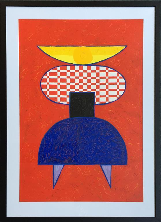 "Pia Myrvold ""Timeconstruction, red"" Akryl på papir (86x58 cm) kr 9500 mr"