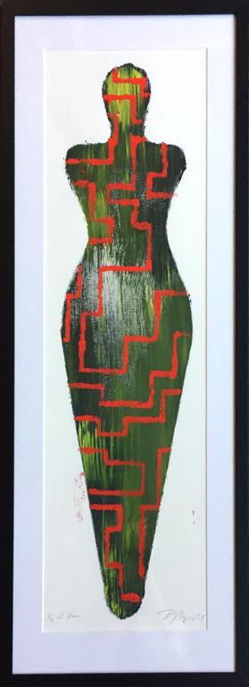 "Pia Myrvold ""Venus, green/red"" Akryl på papir (100x35 cm) kr 9000 mr"