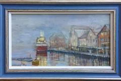 "Andrey Belevich ""Skagenkaien, Stavanger"" Oljemaleri (19x35 cm) kr 3500 mr"